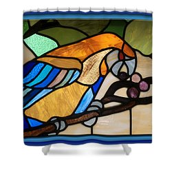 Stained Glass Parrot Window Shower Curtain by Thomas Woolworth