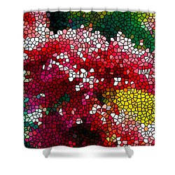 Stained Glass Red Chrysanthemum Flowers Shower Curtain by Lanjee Chee