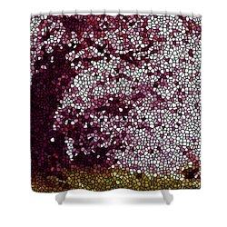 Stained Glass  Sakura Tree Shower Curtain by Lanjee Chee