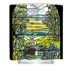 Stained Glass Tiffany Holy City Memorial Window Shower Curtain by Donna Walsh