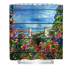 Stained Glass Tiffany Landscape Window With Sailboat Shower Curtain by Donna Walsh