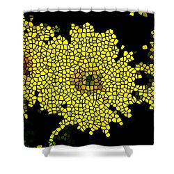 Stained Glass Yellow Chrysanthemum Flower Shower Curtain by Lanjee Chee