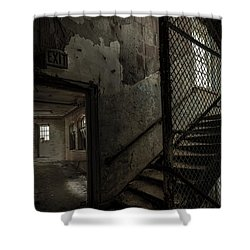 Stairs And Corridor Inside An Abandoned Asylum Shower Curtain by Gary Heller
