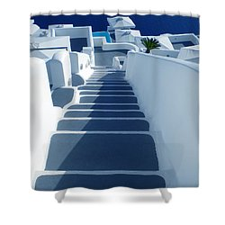 Stairs Down To Ocean Santorini Shower Curtain by Colette V Hera  Guggenheim
