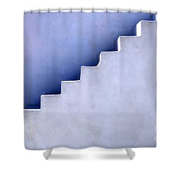 Stairs In Santorini Shower Curtain by Bob Christopher