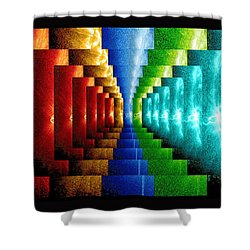 Shower Curtain featuring the digital art Stairsteps by Paula Ayers