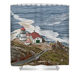Shower Curtain featuring the photograph Stairway Leading To Point Reyes Lighthouse by Jeff Goulden