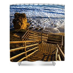 Shower Curtain featuring the photograph Steps To Blue Ocean And Rocky Beach by Jerry Cowart