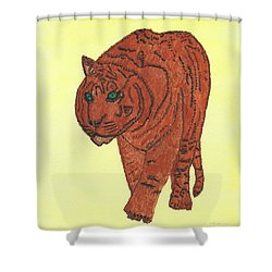 Shower Curtain featuring the painting Stalking Tiger by Tracey Williams