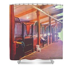 Stall Doors In The Red Barn, Stanford Shower Curtain