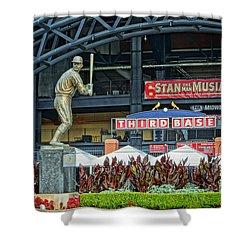 Stan Musial Statue At Busch Stadium St Louis Mo Shower Curtain
