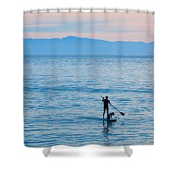 Stand Up Paddle Surfing In Santa Barbara Bay California Shower Curtain