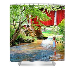 Standing By The River At Campbell's Bridge Shower Curtain