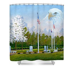 Standing Guard Over Veterans Park Shower Curtain