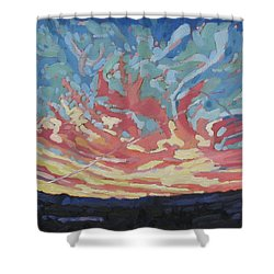 Standing Outside The Fire Shower Curtain by Phil Chadwick