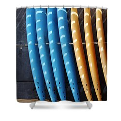 Standing Surf Boards Shower Curtain by Carlos Caetano