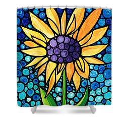 Standing Tall - Sunflower Art By Sharon Cummings Shower Curtain by Sharon Cummings