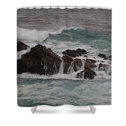 Shower Curtain featuring the photograph Standing Up To The Waves by Suzanne Luft