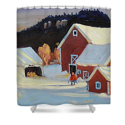 Shower Curtain featuring the painting Stanley Kay Farm by Len Stomski