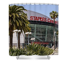 Staples Center In Los Angeles California Shower Curtain by Paul Velgos