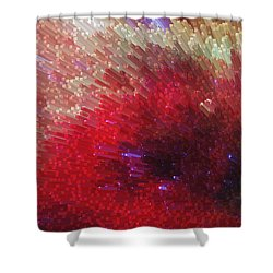 Star Burst - Red Abstract Art By Sharon Cummings Shower Curtain by Sharon Cummings