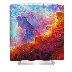 Star Dust Angel Shower Curtain by Julie Turner