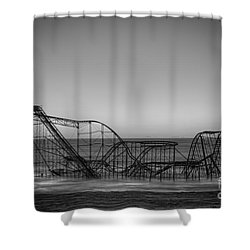 Star Jet Roller Coaster Bw Shower Curtain by Michael Ver Sprill