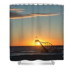 Star Jet Sunrise Silhouettte Shower Curtain by Michael Ver Sprill