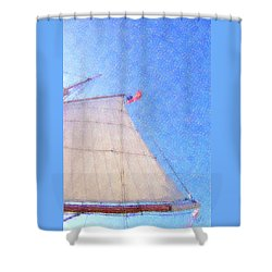 Star Of India. Flag And Sail Shower Curtain by Ben and Raisa Gertsberg