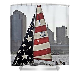 Shower Curtain featuring the photograph Star Spangled Sail  by Lilliana Mendez