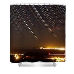 Star Trails Above A Village Shower Curtain by Amin Jamshidi