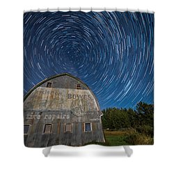 Star Trails Over Barn Shower Curtain by Paul Freidlund