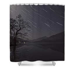 Star Trails Over Lake Shower Curtain by Beverly Cash