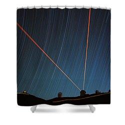 Star Trails Over Mauna Kea Observatory Shower Curtain
