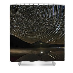 Star Trails Over Mount Hood At Trillium Lake Shower Curtain