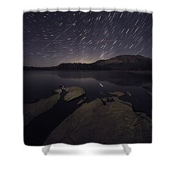 Star Trails Over Silver Lake Resort Shower Curtain