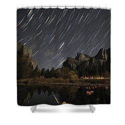 Star Trails Over Yosemite Shower Curtain