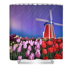 Shower Curtain featuring the photograph Star Trails Windmill And Tulips by William Lee