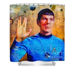 Shower Curtain featuring the painting Star Trek-leonard Nimoy by Elizabeth Coats