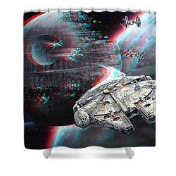Star Wars 3d Millennium Falcon Shower Curtain by Paul Van Scott