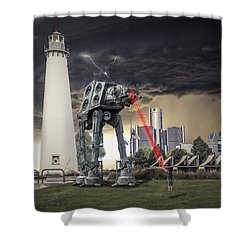 Shower Curtain featuring the photograph Star Wars All Terrain Armored Transport by Nicholas  Grunas