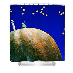 Shower Curtain featuring the photograph Star Watching On Pumpkin Food Physics by Paul Ge