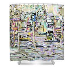 Shower Curtain featuring the digital art Starbucks After Hours by Mark Greenberg