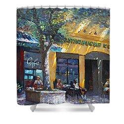 Starbucks Hangout Nyack Ny Shower Curtain by Ylli Haruni