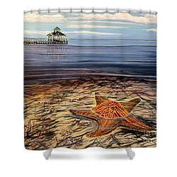 Starfish Drifting Shower Curtain