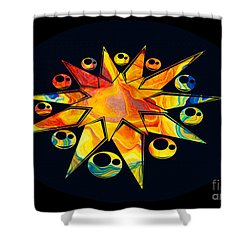 Shower Curtain featuring the painting Staring Into Eternity Abstract Stars And Circles by Omaste Witkowski