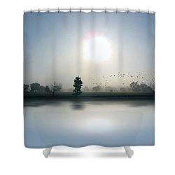 Starlings Misty Morning Shower Curtain by Cedric Hampton