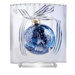 Christmas Ornament With Stars Shower Curtain by Vizual Studio