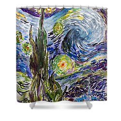 Shower Curtain featuring the painting Starry Night After Vincent Van Gogh by Ginette Callaway