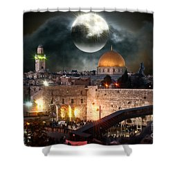 Starry Night At The Dome Of The Rock Shower Curtain by Doc Braham